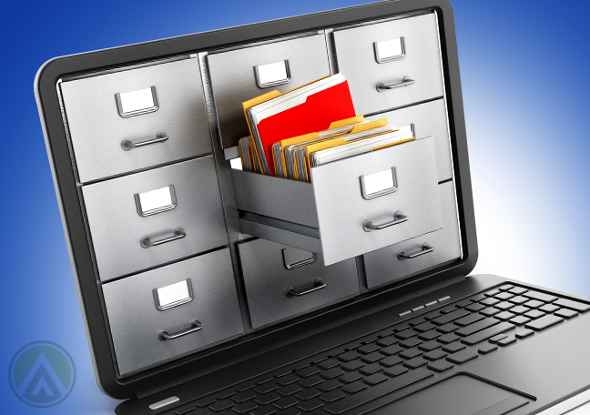 file cabinets coming out of laptop screen