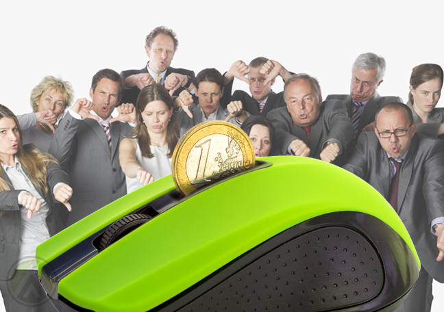 giant computer mouse with coin annoyed thumbs down businesspeople