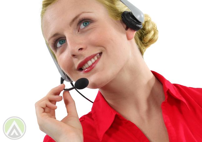 smiling customer service representative in red