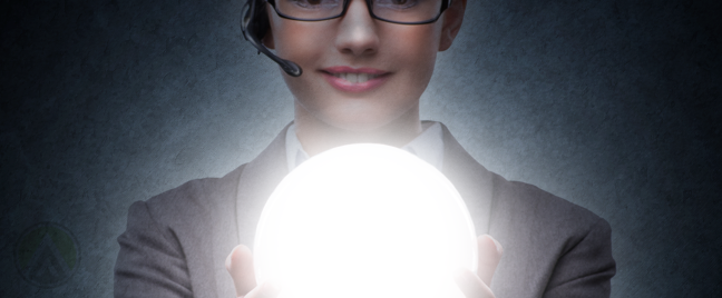 call center agent holding glowing orb in the dark