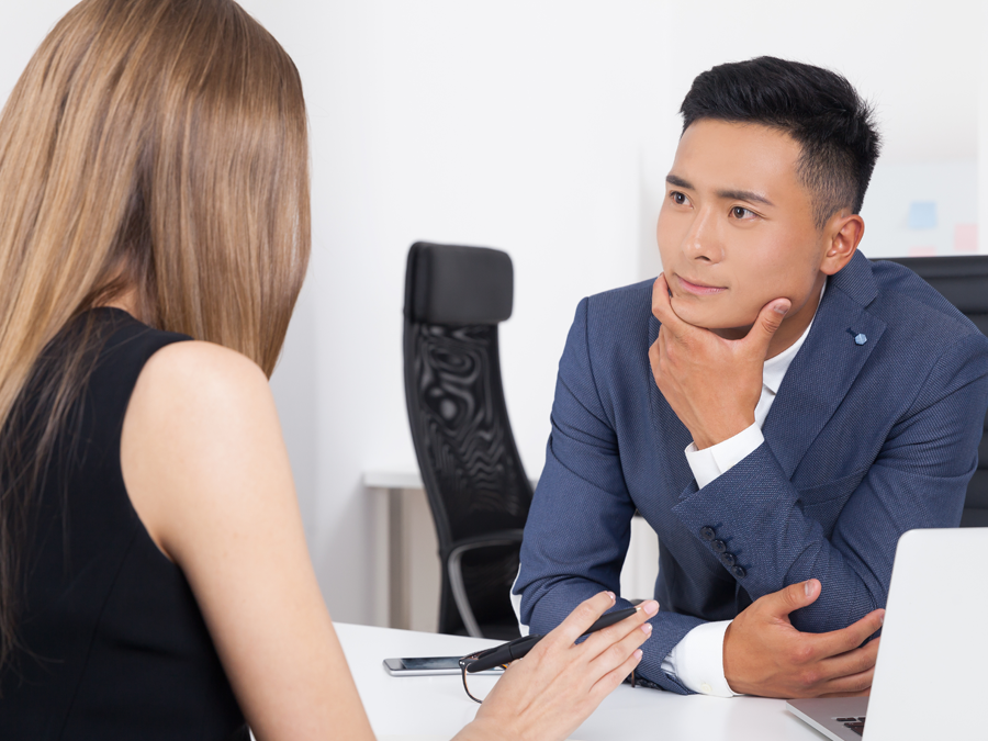 call center team leader engrossed in customer service agent story