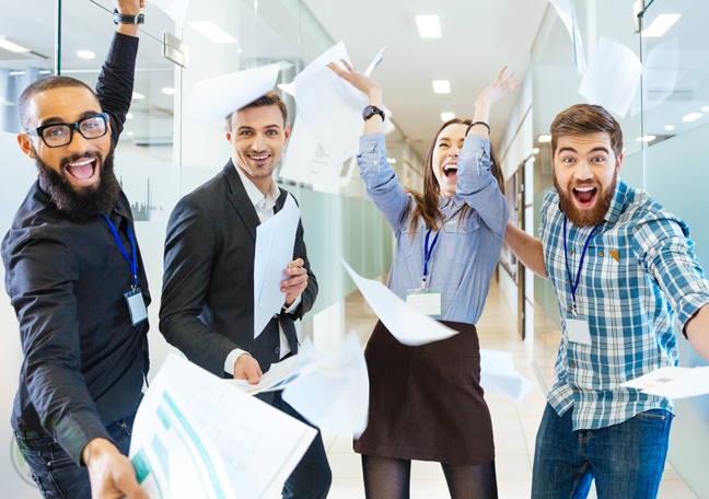 fun energetic business team in office with paper