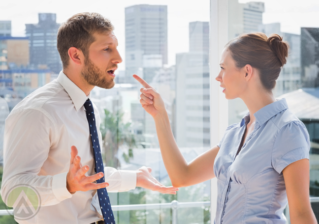 office coworkers arguing in company balcony