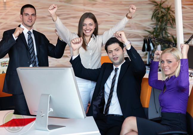 succeeding office employees arms in the air