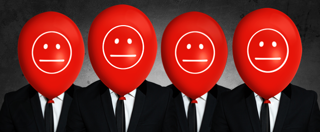 businessmen with red balloon smileys covering face