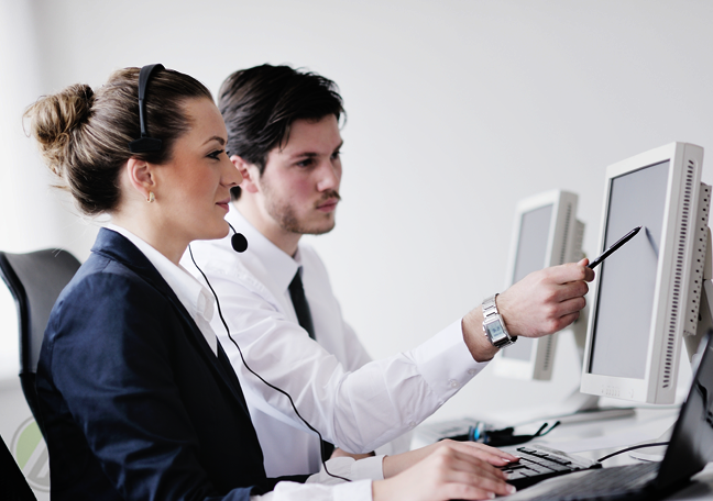call center boss guiding customer service agent