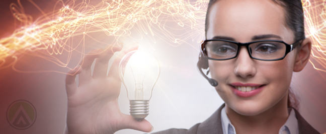 female call center agent holding glowing light bulb
