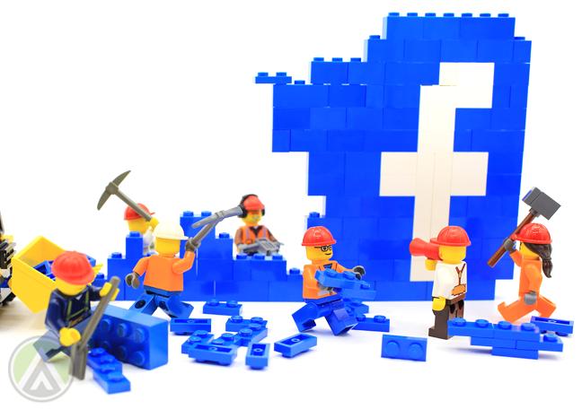 lego construction minifigs dismantling facebook logo
