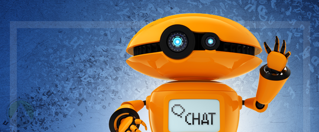 orange robot with screen belly text saying chat