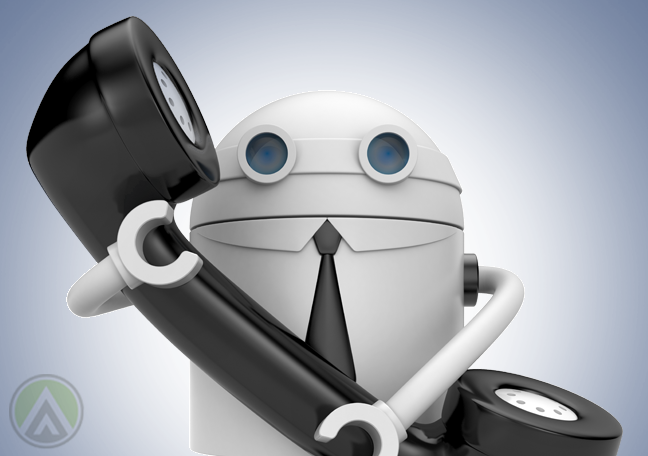 white robot holding a landline telephone receiver