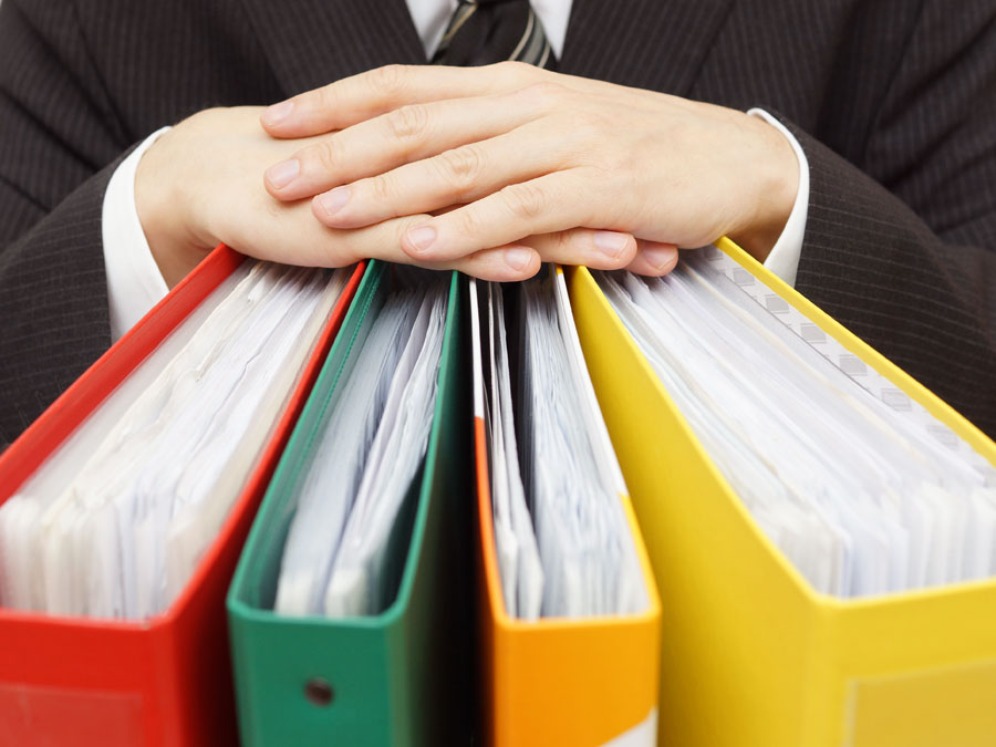 businessman hands on customer service files