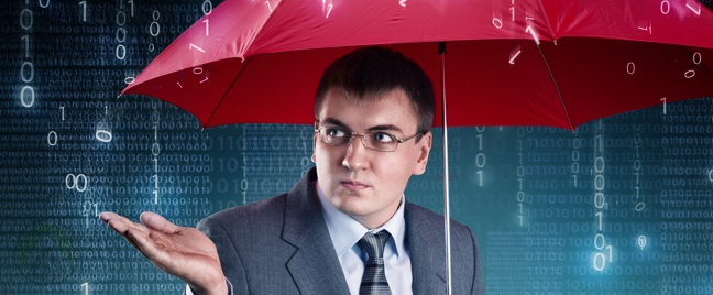 businessman under red umbrella during digital number rain