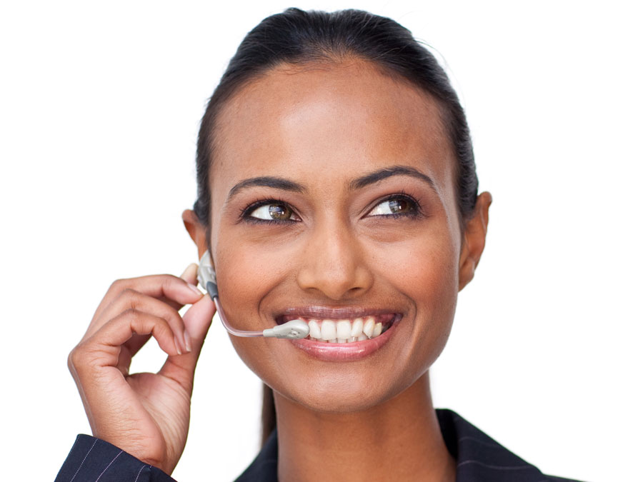 customer service agent smiling brightly