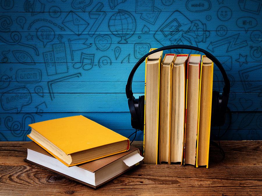 customer service book headphones with social media symbols
