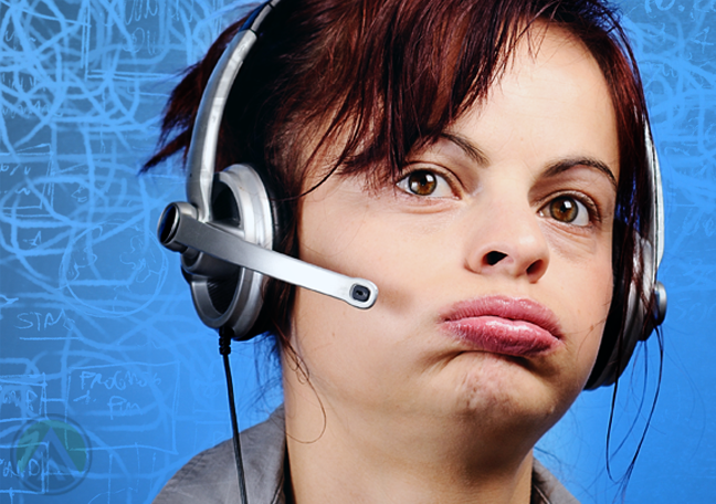 disappointed customer service agent looking listless