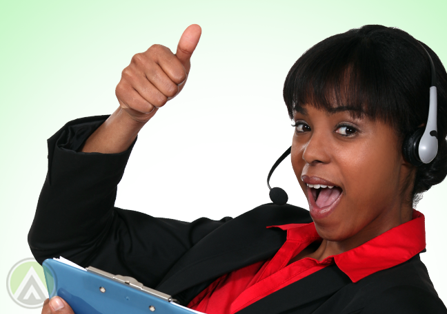 excited call center representative giving thumbs up