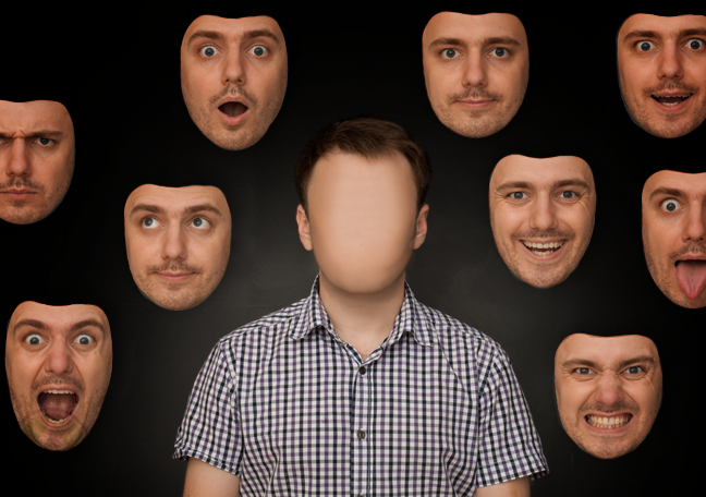faceless man surrounded by faces on wall