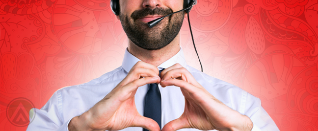 smiling call center agent making heart hand gesture