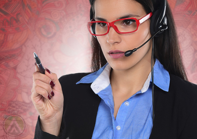 thinking call center agent in glasses holding pen