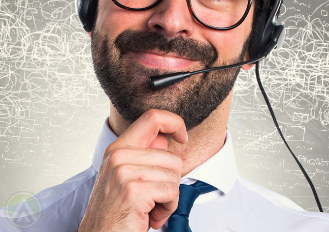 bearded call center agent thinking