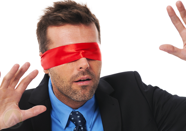 businessman with red blindfold