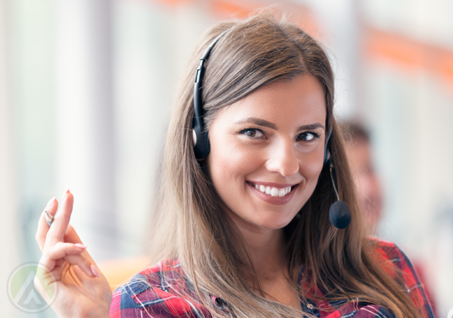 call center agent smiling coyly