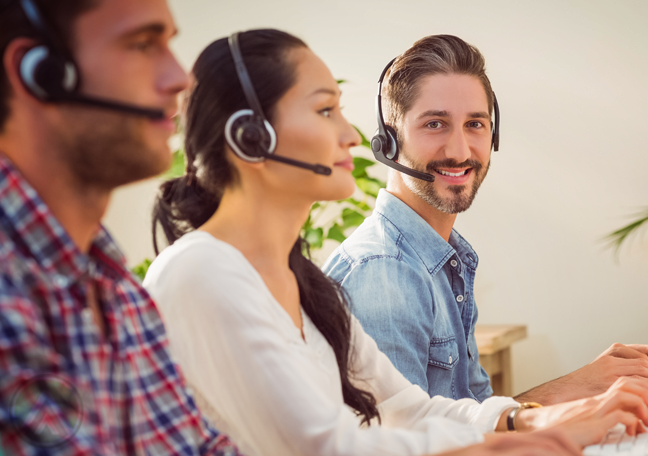 call center agent with customer service team