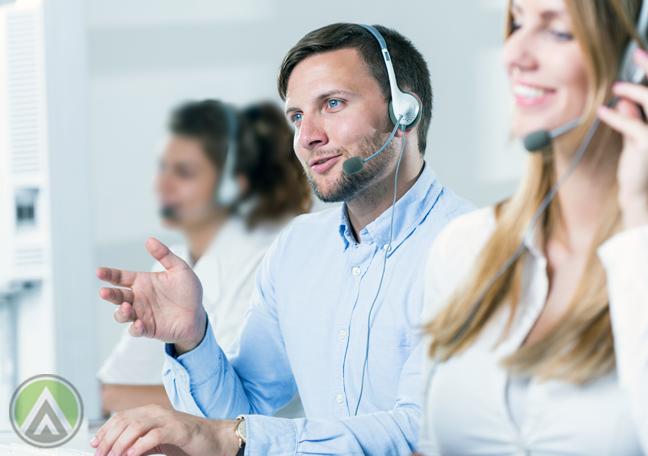 customer service representative at work speaking