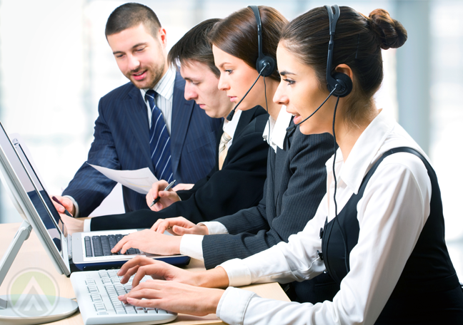 customer service team at work with call center leader