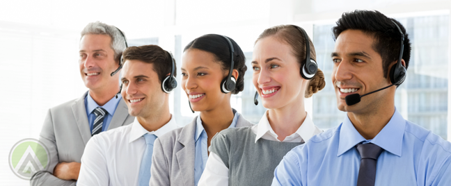 diverse call center agents team leader smiling looking away