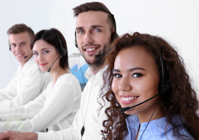 diverse call center team looking