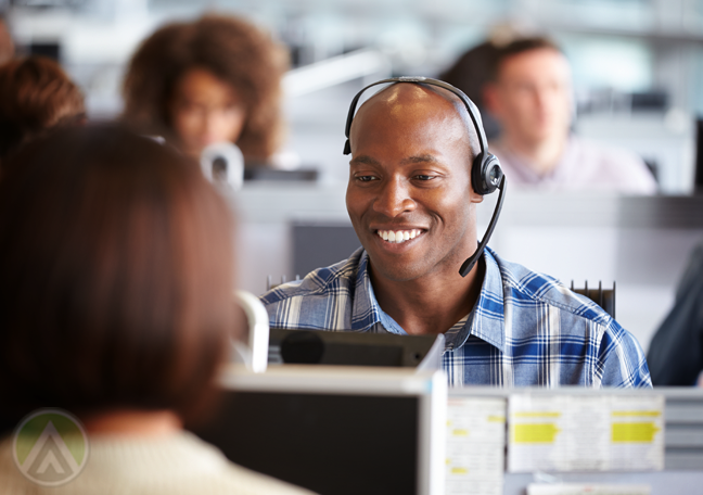 hard working call center worker in customer service call