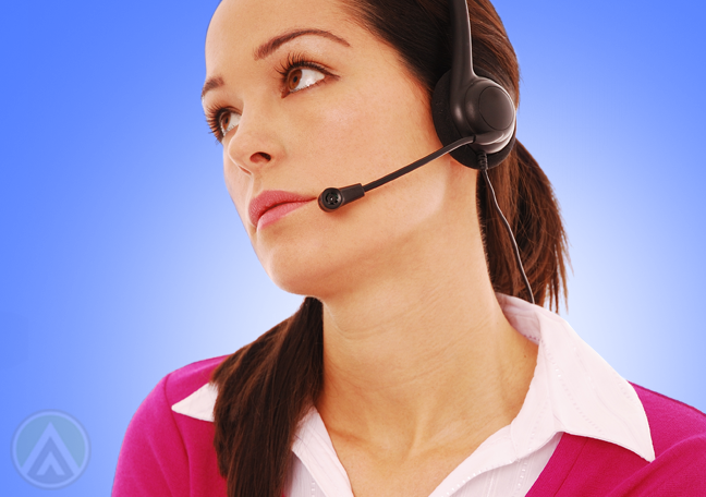 sarcastic call center agent looking away