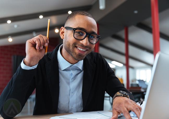 smart office employee holding pencil bright idea