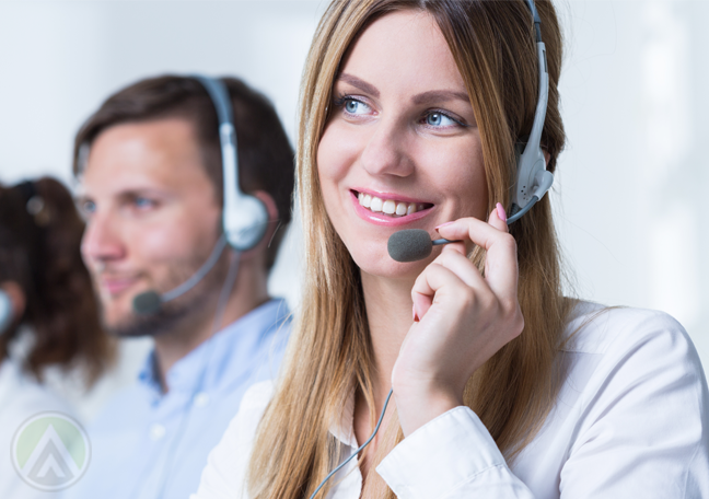 smiling call center agent at work