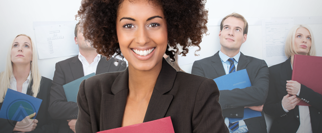 smiling woman hugging resume job applicants in background