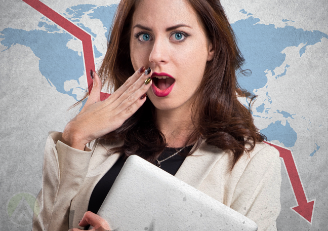 surprised business woman holding laptop