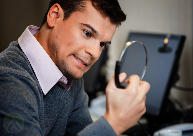 angry customer support agent squeezing call center headset