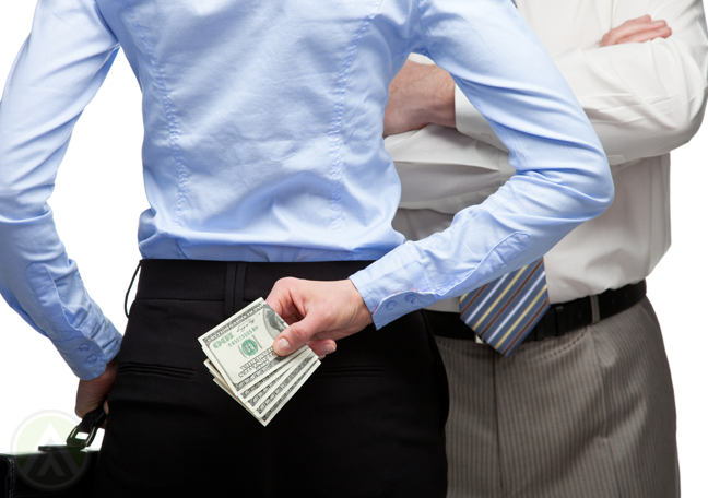 business woman hiding money from boss
