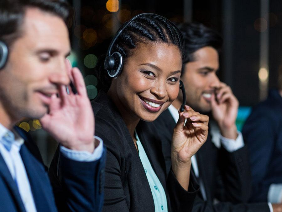 busy diverse call center team