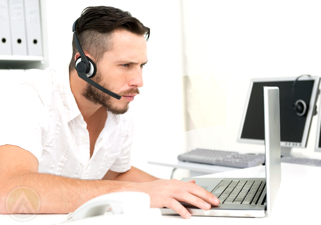 call center agent in white using laptop