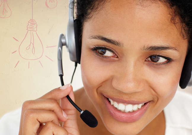 close up shot of smiling call center rep