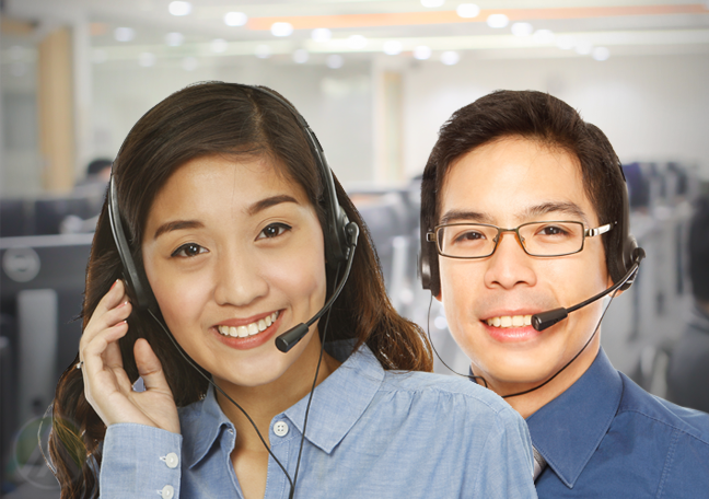 filipino call center agents at customer service team office