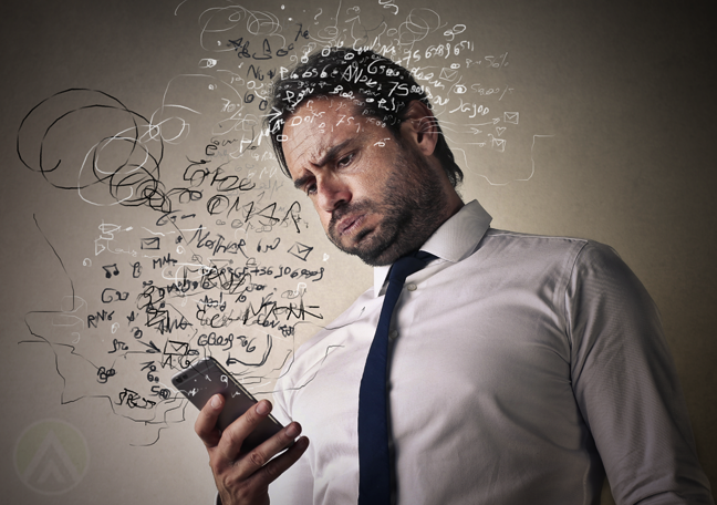 frustrated tired businessman looking at phone
