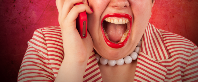 woman in red screaming at telephone background
