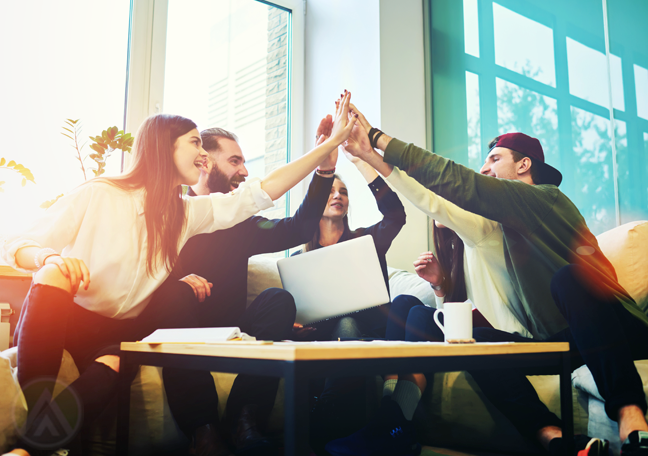 young office workers high five show of teamwork