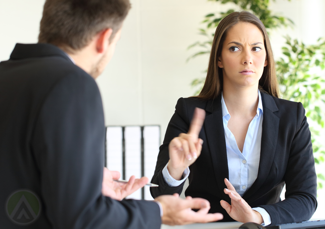 business executive wagging finger refusing partner