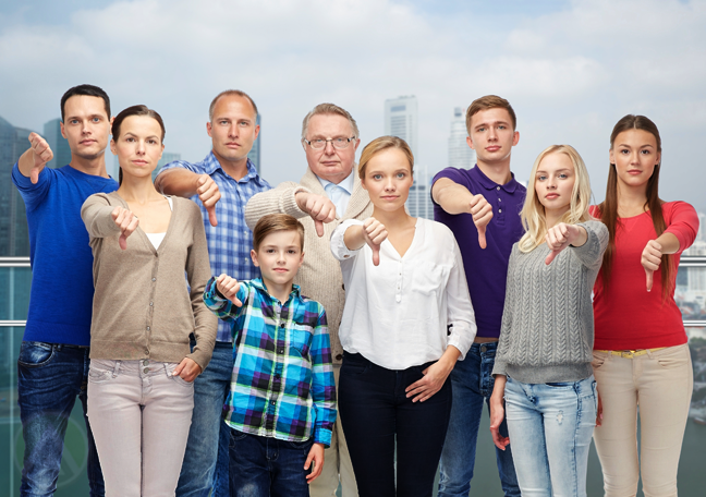 sad frustrated age diverse generations family giving thumbs down