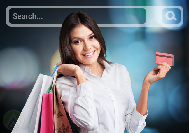 woman with shopping bags credit card ecommerce website search bar behind