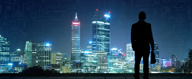 business executive carrying market research standing on rooftop looking at cityscape at night